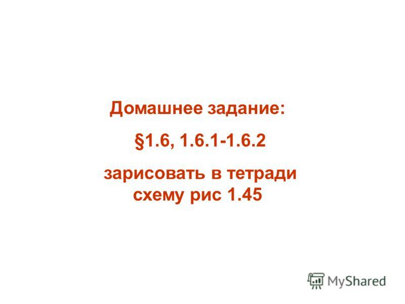Домашнее задание: §1.6, 1.6.1-1.6.2 зарисовать в тетради схему рис 1.45