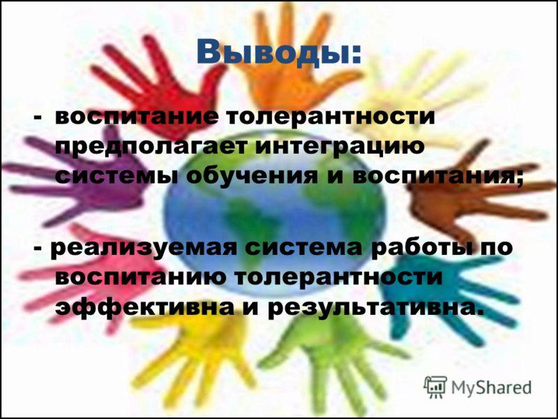 Выводы: -воспитание толерантности предполагает интеграцию системы обучения и воспитания; - реализуемая система работы по воспитанию толерантности эффективна и результативна.