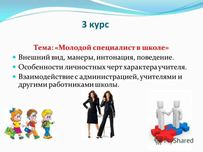 3 курс Тема: «Молодой специалист в школе» Внешний вид, манеры, интонация, поведение. Особенности личностных черт характера учителя. Взаимодействие с администрацией, учителями и другими работниками школы.