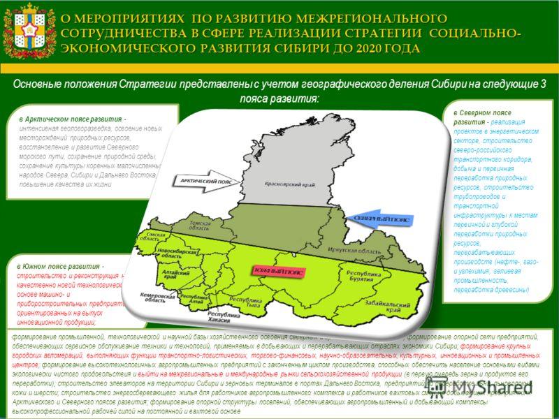 Основные положения Стратегии представлены с учетом географического деления Сибири на следующие 3 пояса развития: О МЕРОПРИЯТИЯХ ПО РАЗВИТИЮ МЕЖРЕГИОНАЛЬНОГО СОТРУДНИЧЕСТВА В СФЕРЕ РЕАЛИЗАЦИИ СТРАТЕГИИ СОЦИАЛЬНО- ЭКОНОМИЧЕСКОГО РАЗВИТИЯ СИБИРИ ДО 2020