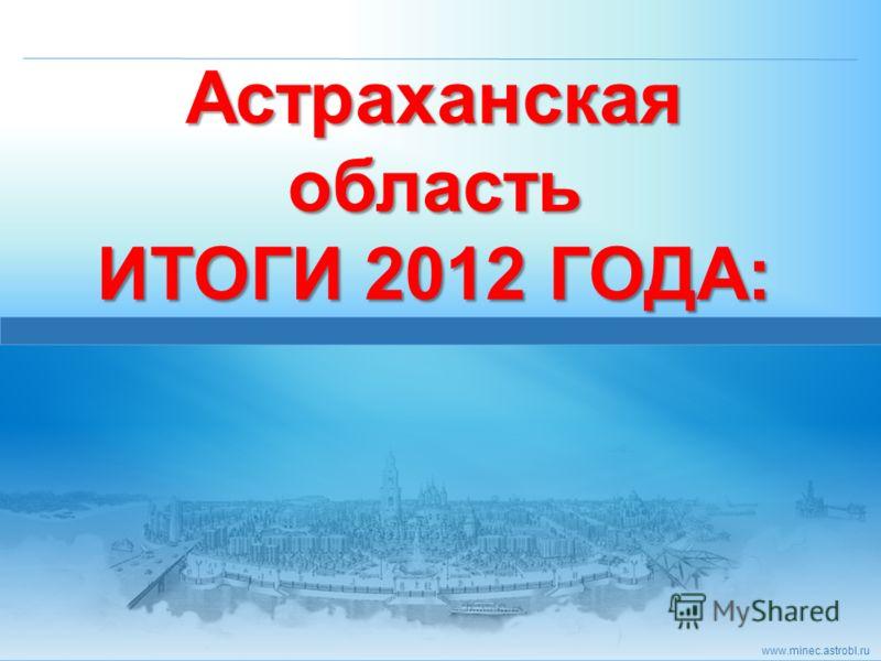www.minec.astrobl.ru Астраханская область ИТОГИ 2012 ГОДА: