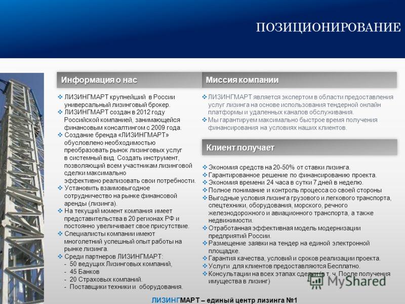 Первый универсальный лизинговый брокер в России «ЛИЗИНГМАРТ» Январь 2013 г. www.leasemart.ru