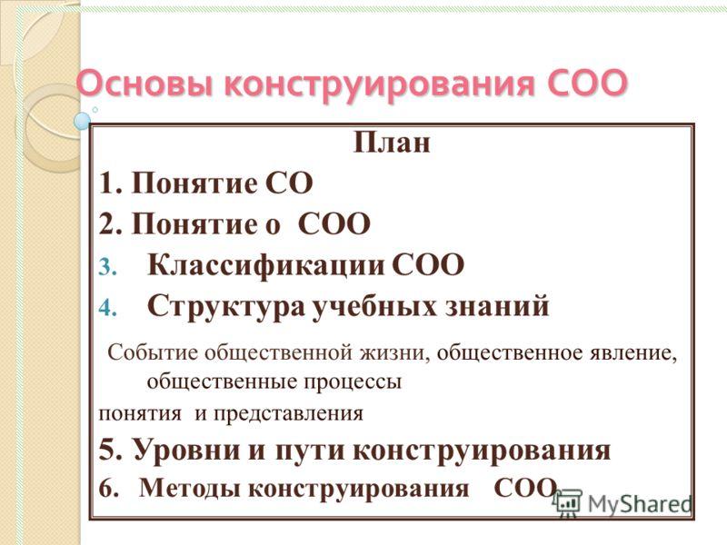 Основы конструирования СОО План 1. Понятие СО 2. Понятие о СОО 3. Классификации СОО 4. Структура учебных знаний Событие общественной жизни, общественное явление, общественные процессы понятия и представления 5. Уровни и пути конструирования 6. Методы