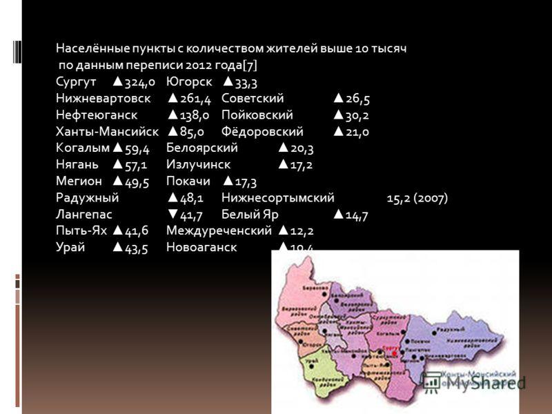 Населённые пункты с количеством жителей выше 10 тысяч по данным переписи 2012 года[7] Сургут 324,0Югорск 33,3 Нижневартовск 261,4Советский 26,5 Нефтеюганск 138,0Пойковский 30,2 Ханты-Мансийск 85,0Фёдоровский 21,0 Когалым 59,4Белоярский 20,3 Нягань 57