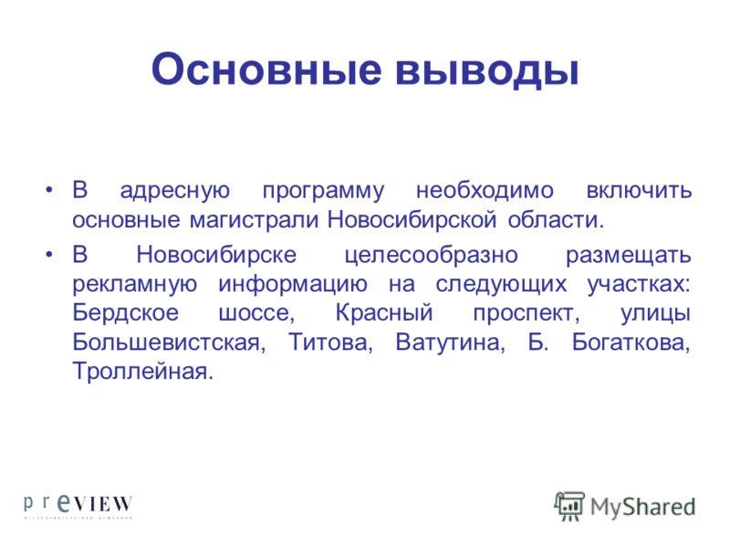 Основные выводы В адресную программу необходимо включить основные магистрали Новосибирской области. В Новосибирске целесообразно размещать рекламную информацию на следующих участках: Бердское шоссе, Красный проспект, улицы Большевистская, Титова, Ват