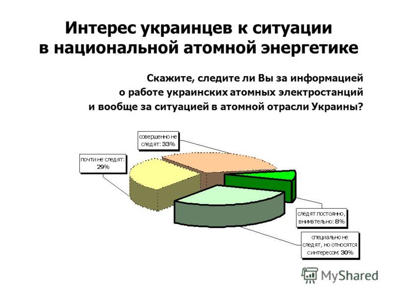 Интерес украинцев к ситуации в национальной атомной энергетике Скажите, следите ли Вы за информацией о работе украинских атомных электростанций и вообще за ситуацией в атомной отрасли Украины?