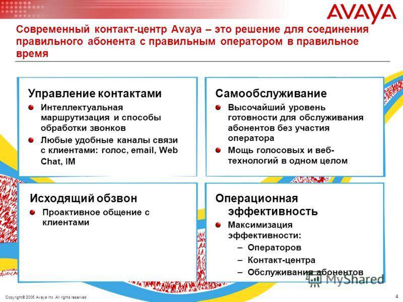 4 © 2005 Avaya Inc. All rights reserved. Современный контакт-центр Avaya – это решение для соединения правильного абонента с правильным оператором в правильное время Самообслуживание Высочайший уровень готовности для обслуживания абонентов без участи