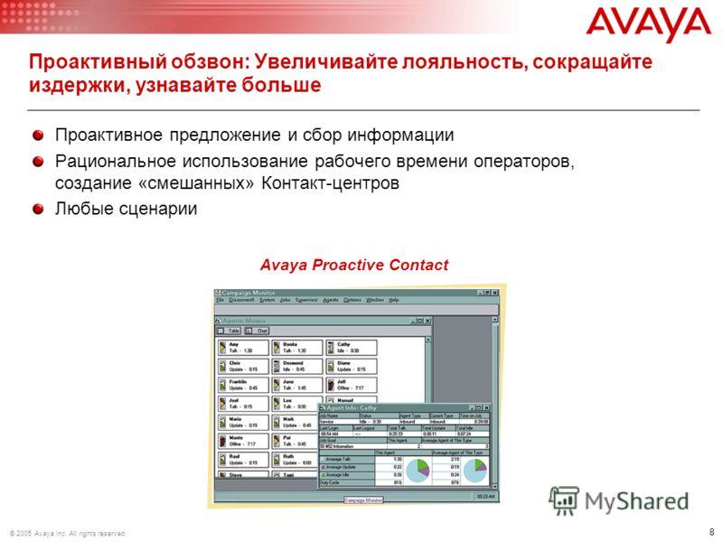 8 © 2005 Avaya Inc. All rights reserved. Проактивный обзвон: Увеличивайте лояльность, сокращайте издержки, узнавайте больше Проактивное предложение и сбор информации Рациональное использование рабочего времени операторов, создание «смешанных» Контакт