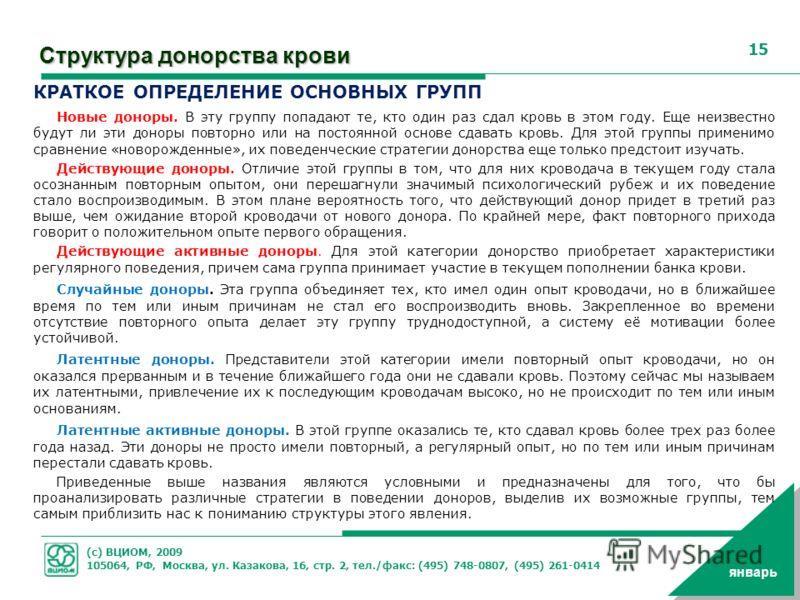 (с) ВЦИОМ, 2009 105064, РФ, Москва, ул. Казакова, 16, стр. 2, тел./факс: (495) 748-0807, (495) 261-0414 15 январь Структура донорства крови КРАТКОЕ ОПРЕДЕЛЕНИЕ ОСНОВНЫХ ГРУПП Новые доноры. В эту группу попадают те, кто один раз сдал кровь в этом году