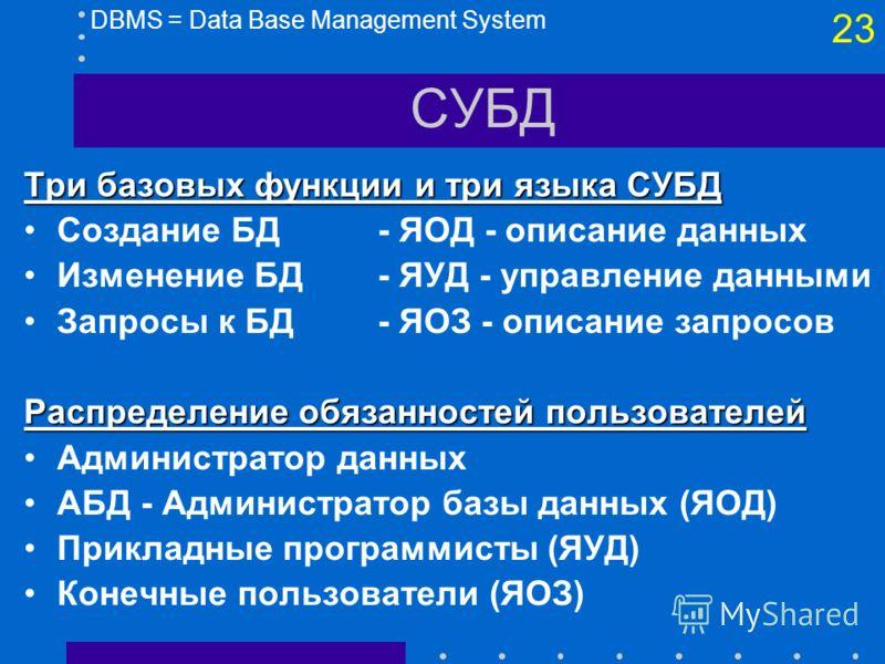 22 СУБД DBMS = Data Base Management SystemПреимущества Минимальная избыточность Совместимость данных Независимость данных Централизованное управление данными, Безопасность Интеграция данных, Перекрестно-функциональный анализ Гибкость отчетов