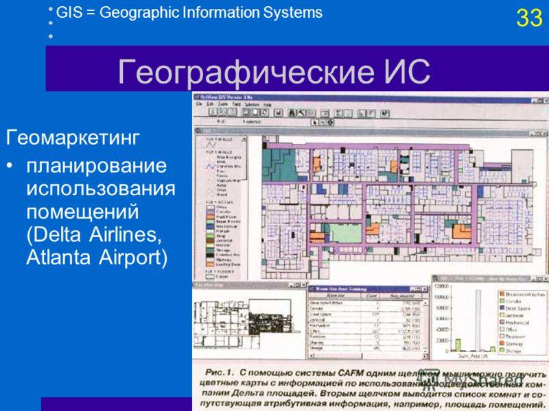 32 GIS = Geographic Information Systems Географические ИС Охрана окружающей среды, геология, добыча (3D)