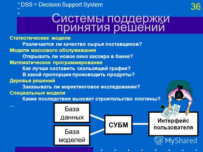 35 GIS = Geographic Information Systems Географические ИС Реализация бытовой техники (Ariston, Москва) 19 магазинов адреса 7000 покупателей Зоны влияния магазинов и их перекрытие (потери в рентабельности до 2 раз)