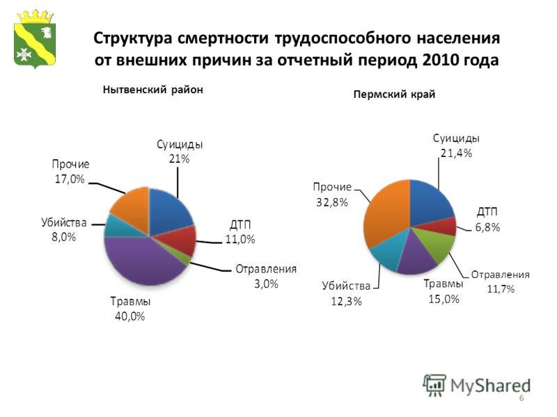 6 Структура смертности трудоспособного населения от внешних причин за отчетный период 2010 года Нытвенский район Пермский край 6