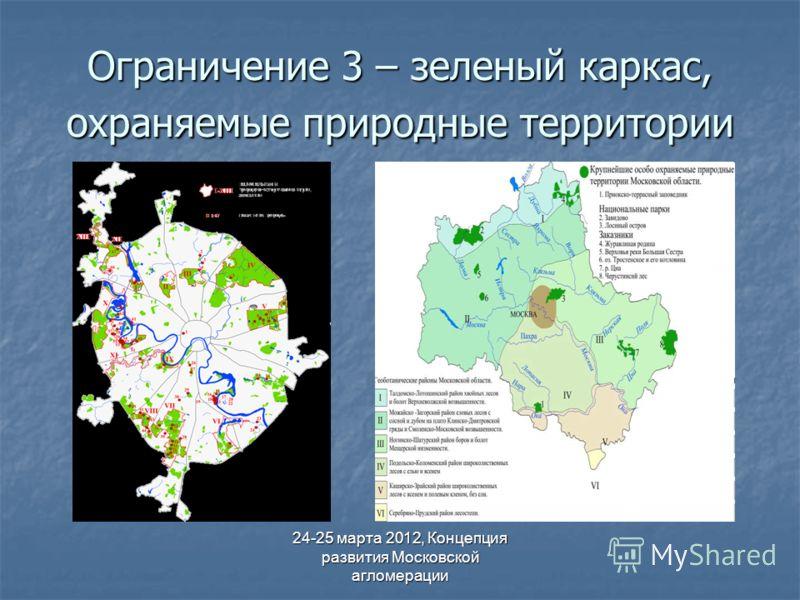 24-25 марта 2012, Концепция развития Московской агломерации Ограничение 3 – зеленый каркас, охраняемые природные территории