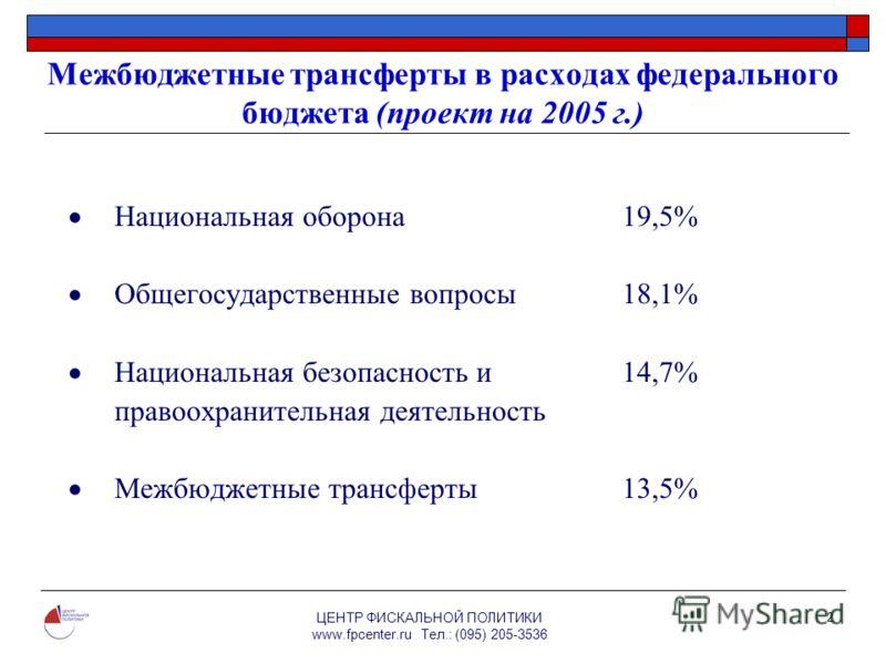 ЦЕНТР ФИСКАЛЬНОЙ ПОЛИТИКИ www.fpcenter.ru Тел.: (095) 205-3536 2 Межбюджетные трансферты в расходах федерального бюджета (проект на 2005 г.) Национальная оборона 19,5% Общегосударственные вопросы 18,1% Национальная безопасность и 14,7% правоохранител