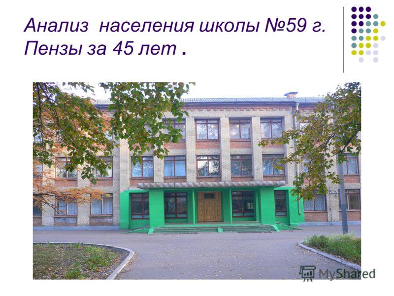 Анализ населения школы 59 г. Пензы за 45 лет.