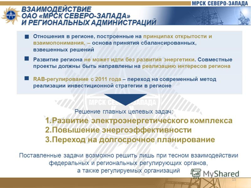 15 ВЗАИМОДЕЙСТВИЕ ОАО «МРСК СЕВЕРО-ЗАПАДА» И РЕГИОНАЛЬНЫХ АДМИНИСТРАЦИЙ Отношения в регионе, построенные на принципах открытости и взаимопонимания, – основа принятия сбалансированных, взвешенных решений Развитие региона не может идти без развития эне