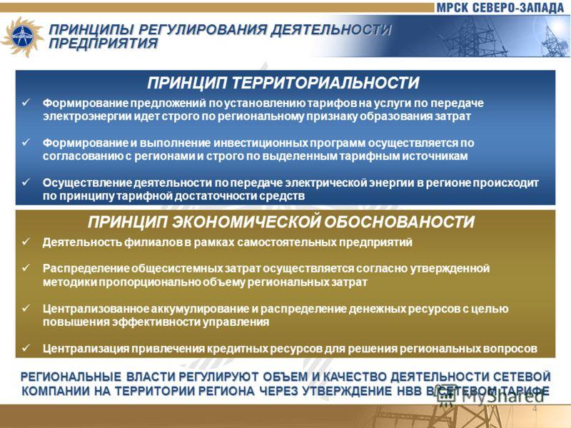 4 ПРИНЦИПЫ РЕГУЛИРОВАНИЯ ДЕЯТЕЛЬНОСТИ ПРЕДПРИЯТИЯ ПРИНЦИП ТЕРРИТОРИАЛЬНОСТИ Формирование предложений по установлению тарифов на услуги по передаче электроэнергии идет строго по региональному признаку образования затрат Формирование и выполнение инвес
