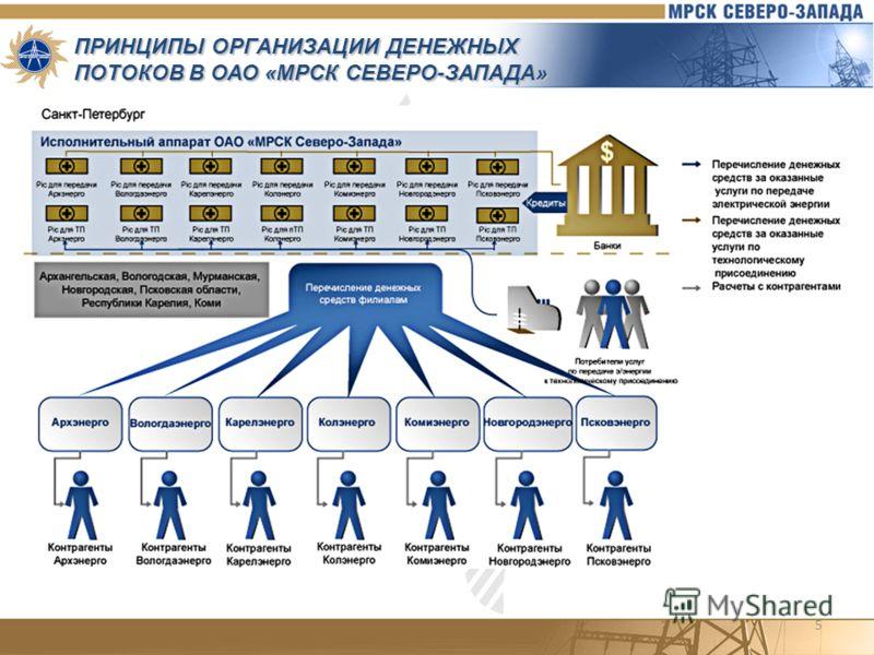 5 ПРИНЦИПЫ ОРГАНИЗАЦИИ ДЕНЕЖНЫХ ПОТОКОВ В ОАО «МРСК СЕВЕРО-ЗАПАДА»