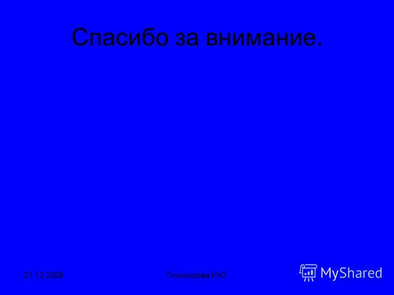 21.12.2008Тихомирова И Ю. Спасибо за внимание.