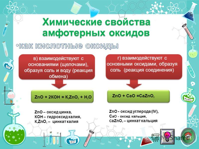 в) взаимодействуют с основаниями (щелочами), образуя соль и воду (реакция обмена) ZnO + 2КОН = К 2 ZnО 2 + H 2 O ZnО + СаО =СаZnO 2 г) взаимодействуют с основными оксидами, образуя соль (реакция соединения) Химические свойства амфотерных оксидов ZnO