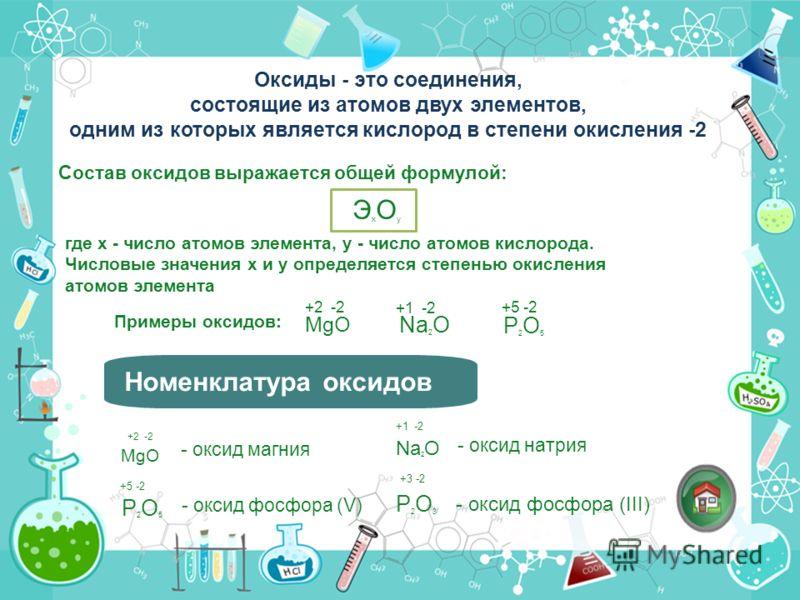Оксиды - это соединения, состоящие из атомов двух элементов, одним из которых является кислород в степени окисления -2 где х - число атомов элемента, у - число атомов кислорода. Числовые значения х и у определяется степенью окисления атомов элемента