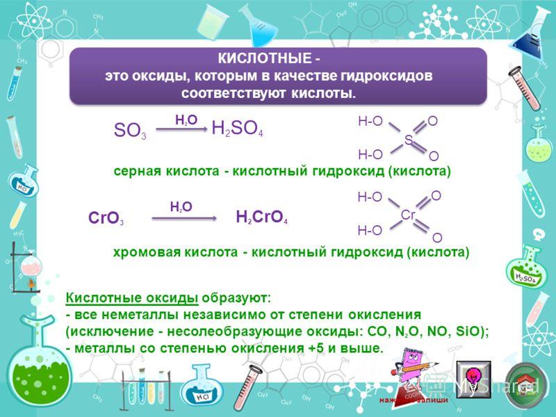 КИСЛОТНЫЕ - это оксиды, которым в качестве гидроксидов соответствуют кислоты. SO 3 H 2 SO 4 H2OH2O H-O S O O cерная кислота - кислотный гидроксид (кислота) CrO 3 H 2 CrO 4 H2OH2O H-O Cr O O хромовая кислота - кислотный гидроксид (кислота) Кислотные о