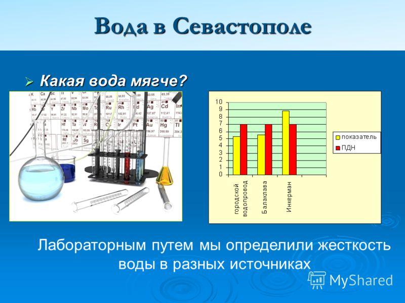 Вода в Севастополе Какая вода мягче? Какая вода мягче? Лабораторным путем мы определили жесткость воды в разных источниках