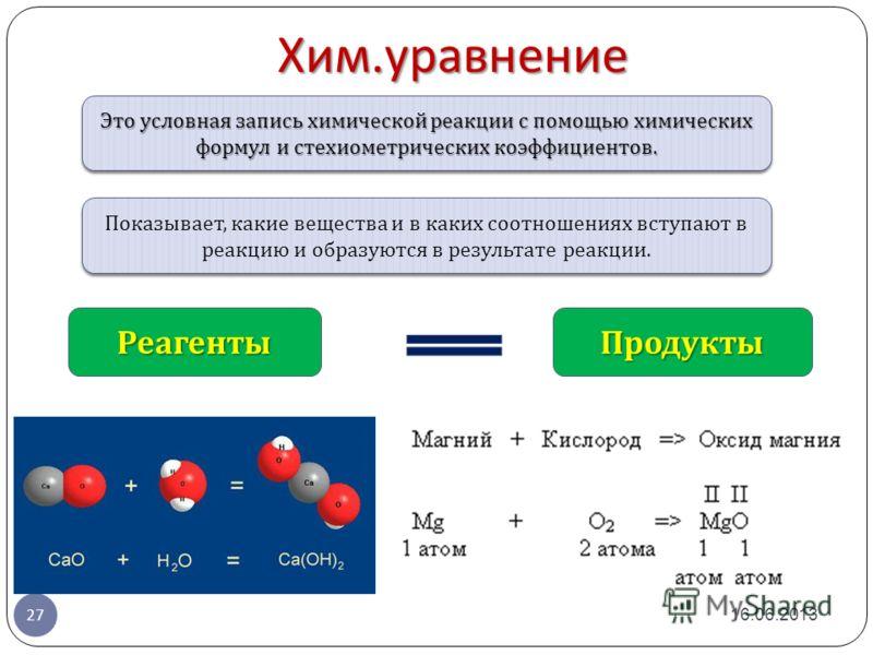 Это условная запись химической реакции с помощью химических формул и стехиометрических коэффициентов. Хим. уравнение 16.06.2013 27 Показывает, какие вещества и в каких соотношениях вступают в реакцию и образуются в результате реакции. РеагентыПродукт