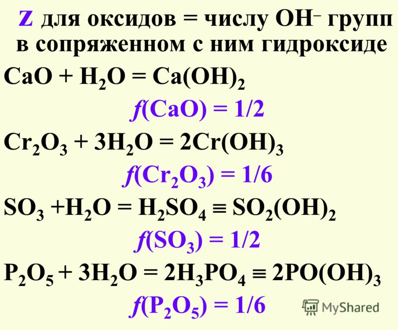 z для оксидов = числу ОН – групп в сопряженном с ним гидроксиде CaO + H 2 O = Ca(OH) 2 f(CaO) = 1/2 Cr 2 O 3 + 3H 2 O = 2Cr(OH) 3 f(Cr 2 O 3 ) = 1/6 SO 3 +H 2 O = H 2 SO 4 SO 2 (OH) 2 f(SO 3 ) = 1/2 P 2 O 5 + 3H 2 O = 2H 3 PO 4 2PO(OH) 3 f(P 2 O 5 )