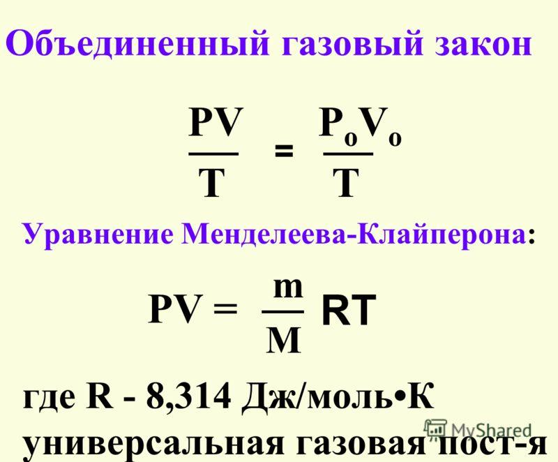 Объединенный газовый закон PV P o V o T Уравнение Менделеева-Клайперона: m M где R - 8,314 Дж/мольК универсальная газовая пост-я = PV = RT