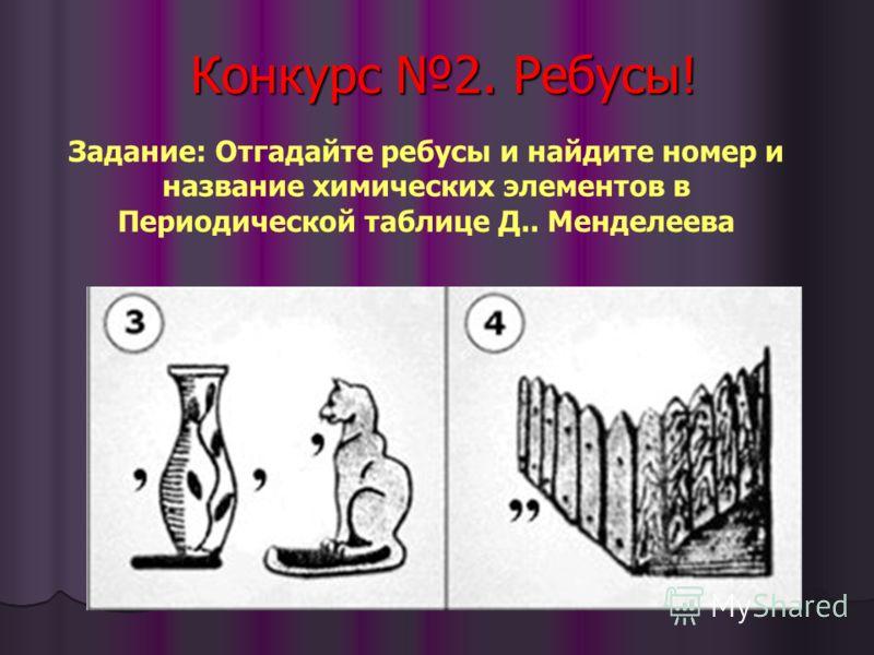 Конкурс 2. Ребусы! Задание: Отгадайте ребусы и найдите номер и название химических элементов в Периодической таблице Д.. Менделеева