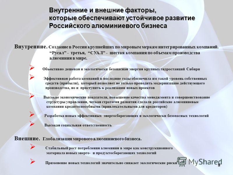 Внутренние и внешние факторы, которые обеспечивают устойчивое развитие Российского алюминиевого бизнеса Внутренние. Создание в России крупнейших по мировым меркам интегрированных компаний. Русал - третья, СУАЛ - шестая компания по объемам производств