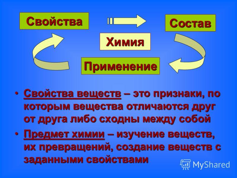 Свойства веществ – это признаки, по которым вещества отличаются друг от друга либо сходны между собойСвойства веществ – это признаки, по которым вещества отличаются друг от друга либо сходны между собой Предмет химии – изучение веществ, их превращени