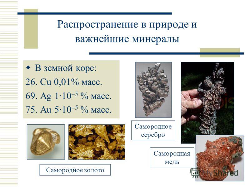 Распространение в природе и важнейшие минералы В земной коре: 26. Cu 0,01% масс. 69. Ag 1·10 –5 % масс. 75. Au 5·10 –5 % масс. Самородное золото Самородное серебро Самородная медь