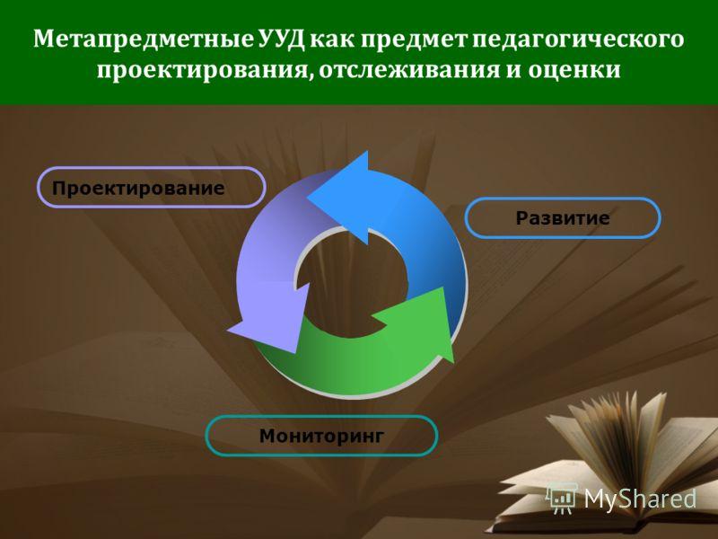 Метапредметные УУД как предмет педагогического проектирования, отслеживания и оценки Проектирование Развитие Мониторинг