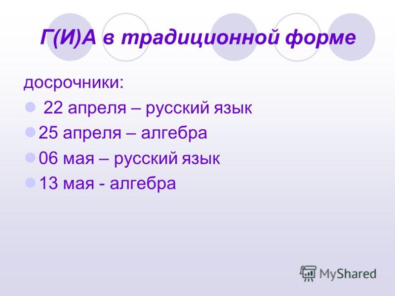 Г(И)А в традиционной форме досрочники: 22 апреля – русский язык 25 апреля – алгебра 06 мая – русский язык 13 мая - алгебра
