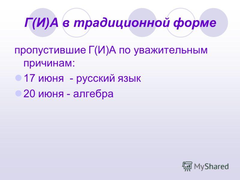 Г(И)А в традиционной форме пропустившие Г(И)А по уважительным причинам: 17 июня - русский язык 20 июня - алгебра