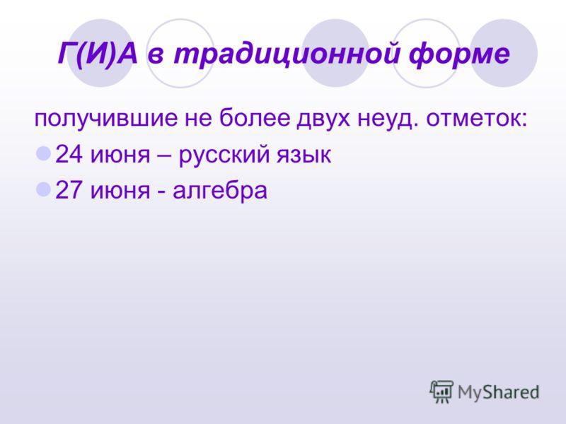 Г(И)А в традиционной форме получившие не более двух неуд. отметок: 24 июня – русский язык 27 июня - алгебра