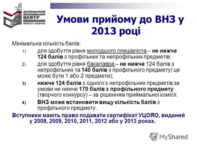 Умови прийому до ВНЗ у 2013 році Мінімальна кількість балів: 1) для здобуття рівня молодшого спеціаліста – не нижче 124 балів з профільних та непрофільних предметів; 2) для здобуття рівня бакалавра – не нижче 124 балів з непрофільних та 140 балів з п