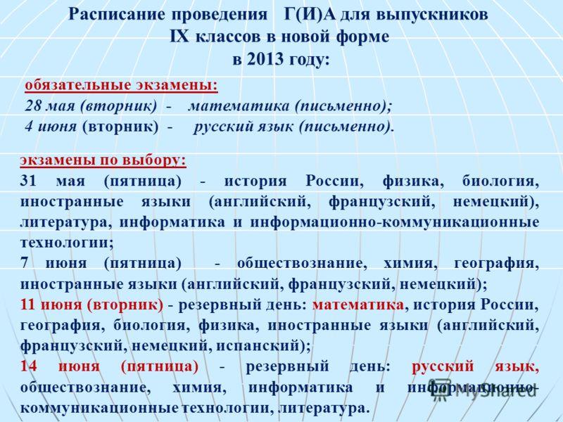 обязательные экзамены: 28 мая (вторник) - математика (письменно); 4 июня (вторник) - русский язык (письменно). экзамены по выбору: 31 мая (пятница) - история России, физика, биология, иностранные языки (английский, французский, немецкий), литература,