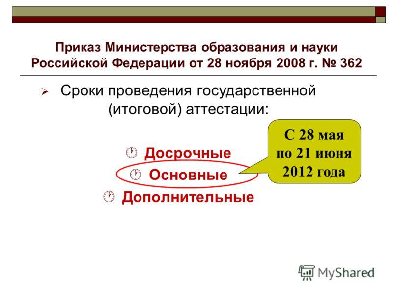 6 Приказ Министерства образования и науки Российской Федерации от 28 ноября 2008 г. 362 Сроки проведения государственной (итоговой) аттестации: Досрочные Основные Дополнительные С 28 мая по 21 июня 2012 года