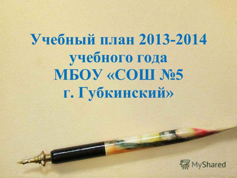 Учебный план 2013-2014 учебного года МБОУ «СОШ 5 г. Губкинский»