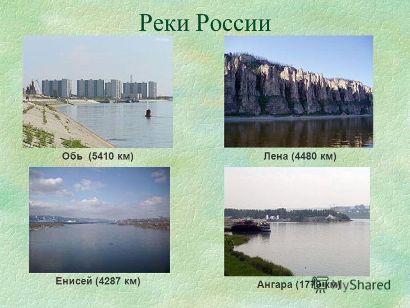 Реки России Обь (5410 км)Лена (4480 км) Енисей (4287 км) Ангара (1779 км)