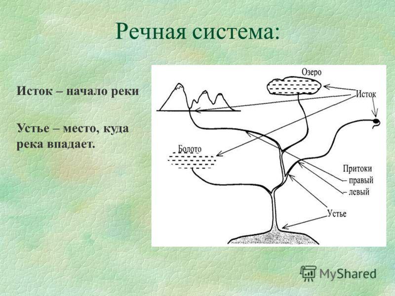 Речная система: Исток – начало реки Устье – место, куда река впадает.