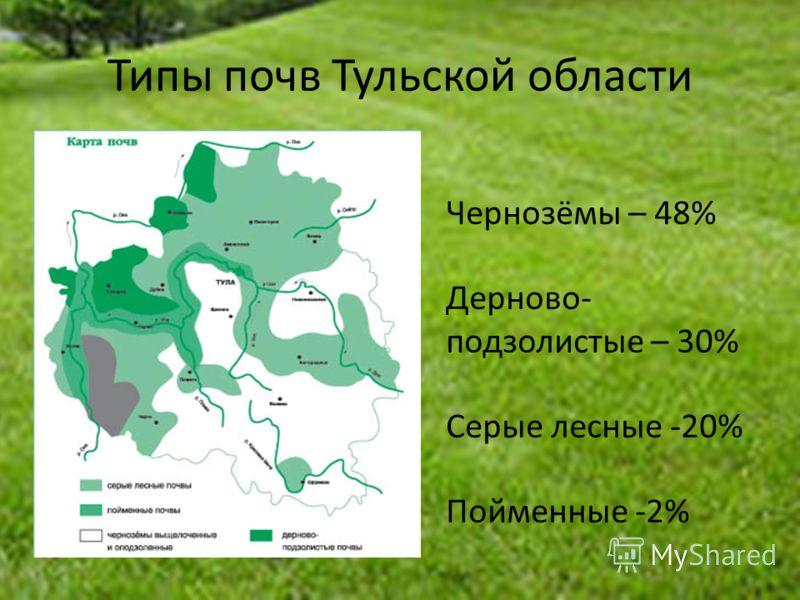 Типы почв Тульской области Чернозёмы – 48% Дерново- подзолистые – 30% Серые лесные -20% Пойменные -2%