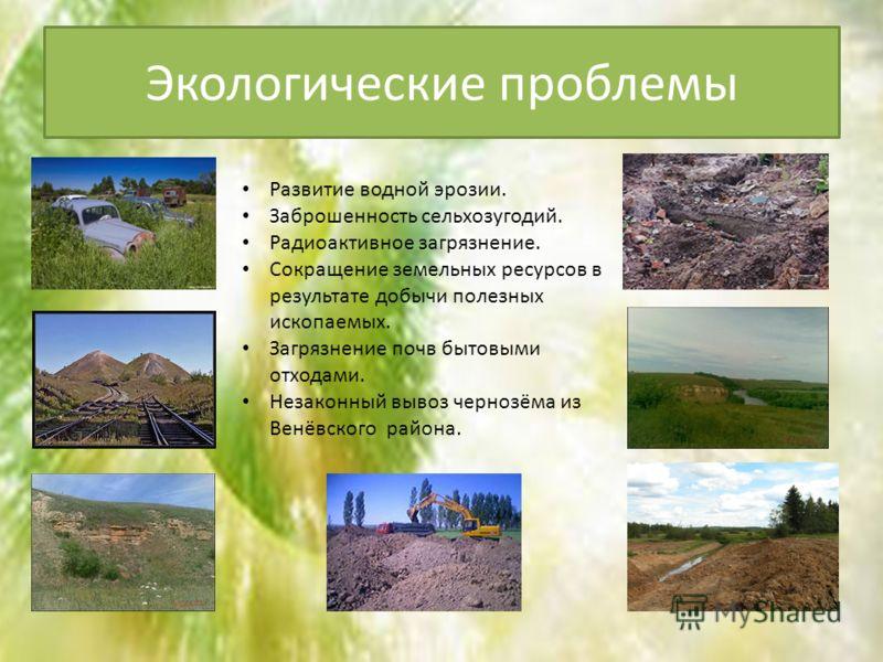Экологические проблемы Развитие водной эрозии. Заброшенность сельхозугодий. Радиоактивное загрязнение. Сокращение земельных ресурсов в результате добычи полезных ископаемых. Загрязнение почв бытовыми отходами. Незаконный вывоз чернозёма из Венёвского