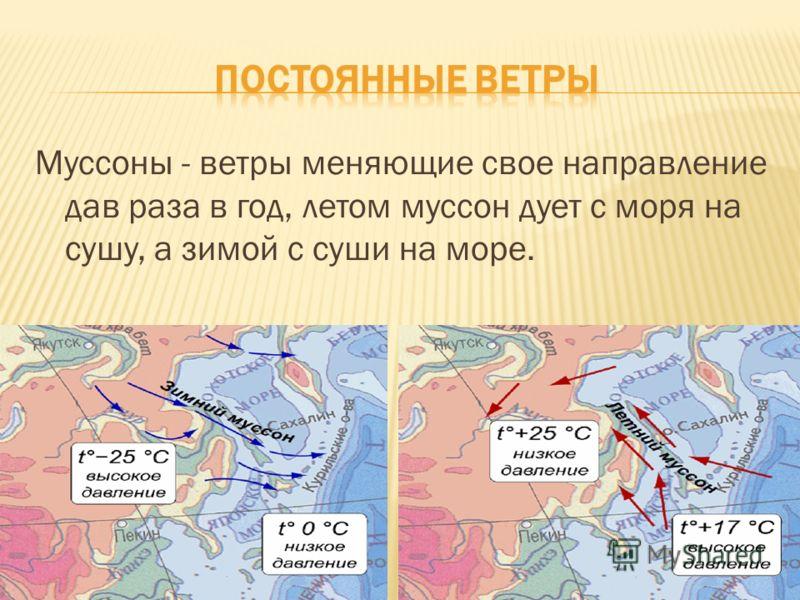 Муссоны - ветры меняющие свое направление дав раза в год, летом муссон дует с моря на сушу, а зимой с суши на море.