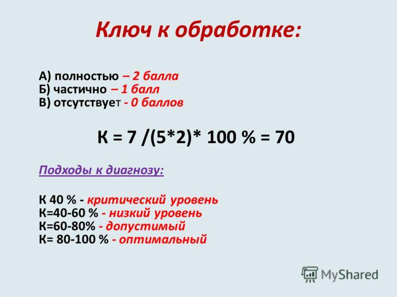Ключ к обработке: А) полностью – 2 балла Б) частично – 1 балл В) отсутствует - 0 баллов К = 7 /(5*2)* 100 % = 70 Подходы к диагнозу: К 40 % - критический уровень К=40-60 % - низкий уровень К=60-80% - допустимый К= 80-100 % - оптимальный