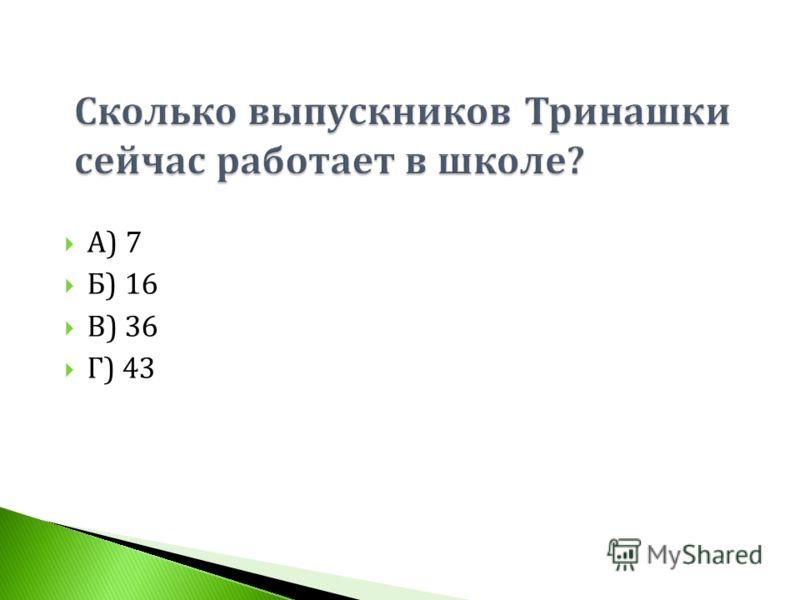А ) 7 Б ) 16 В ) 36 Г ) 43